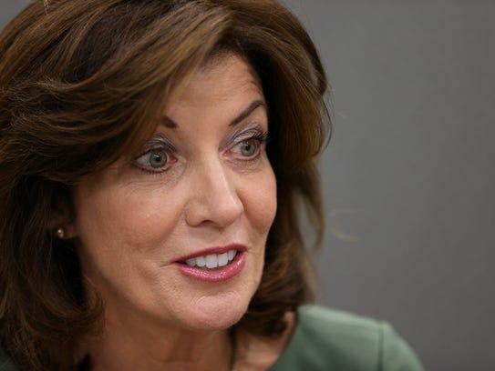 New York state Lt. Governor Kathy Hochul speaks with the Editorial Board at the Democrat and Chronicle in July, 2017.