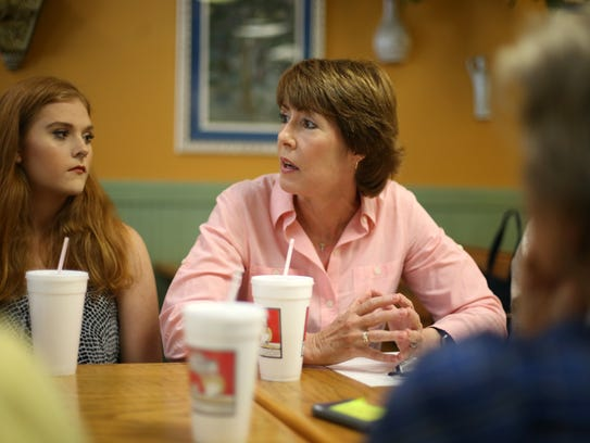 Former congresswoman Gwen Graham speaks to a group