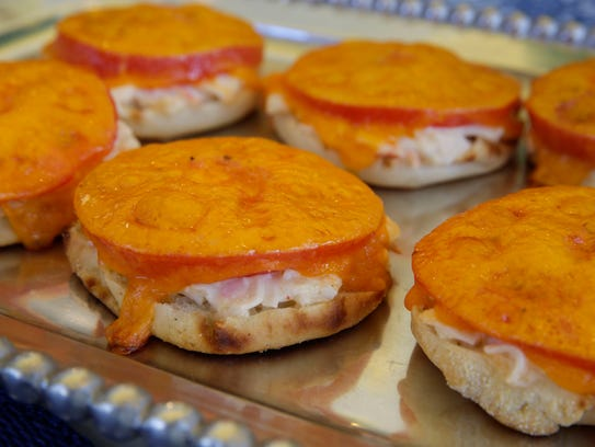 Cheesy Crabmeat Muffin Sandwiches are great as a luncheon