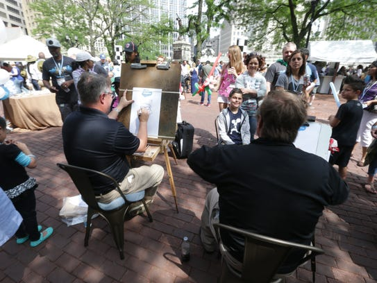 Guests and Salesforce employees get caricatures during