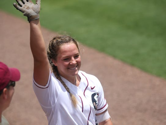 FSU's Anna Shelnutt makes a curtain call after hitting