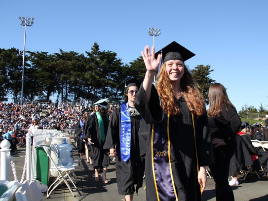 Graduates at the 2017 CSUMB afternoon commencement