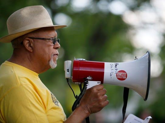Robert Richardson, of the Cincinnati NAACP, speaks