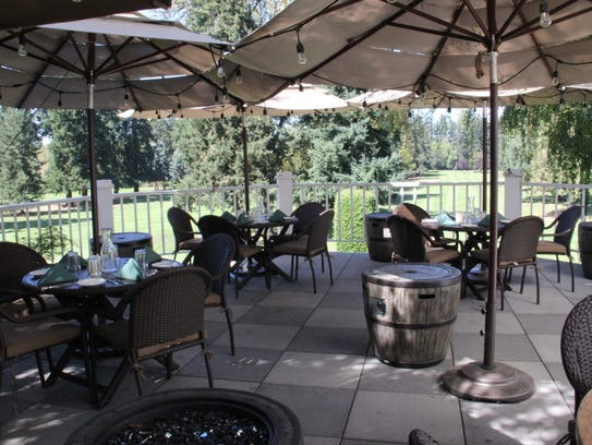The deck seating at the Salem Golf Club restaurant