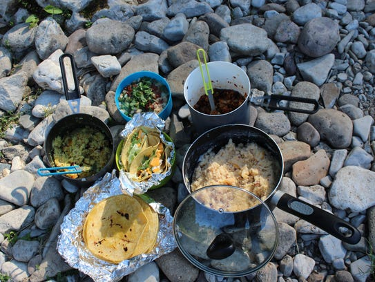 The mock backcountry kitchen's dinner spread included