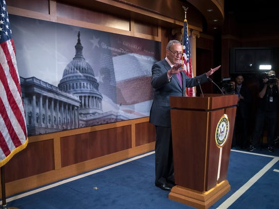 Senate Minority Leader Chuck Schumer holds a news conference