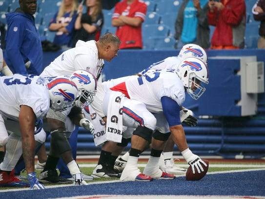 Bills center Ryan Groy with the offensive line during