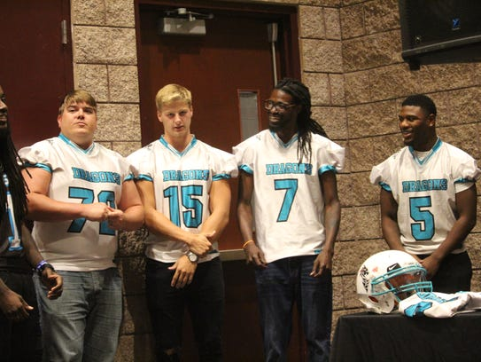 Members of the Upstate Dragons arena football team