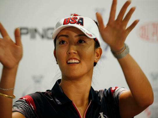USA player Michelle Wie speaks in a press conference