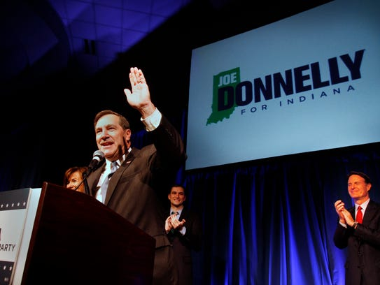Joe Donnelly addresses his supporters after being declared