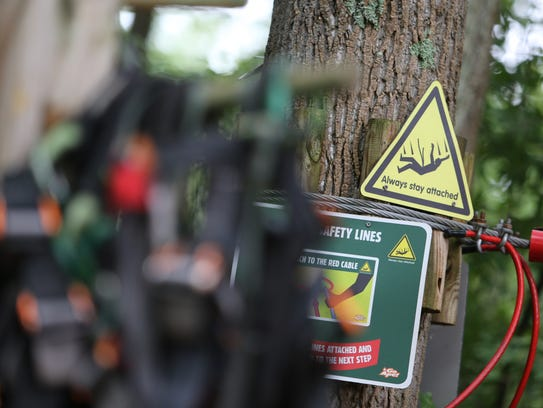 Signs throughout Go Ape warn participants to stay attached