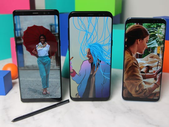 From left: Samsung's Galaxy Note 8, Galaxy S8+ and
