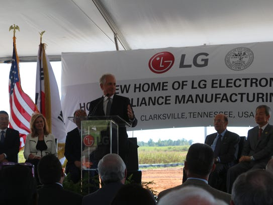 The LG plant will employee 600 workers when it opens in early 2019. Here, local, state and national leaders gather with LG officials for a groundbreaking in Clarksville last year.