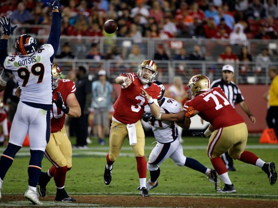 San Francisco 49ers quarterback C.J. Beathard (3) throws