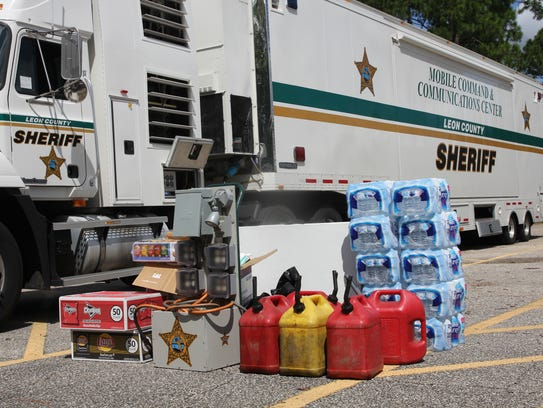 Deputies were beginning to stack supplies Tuesday to
