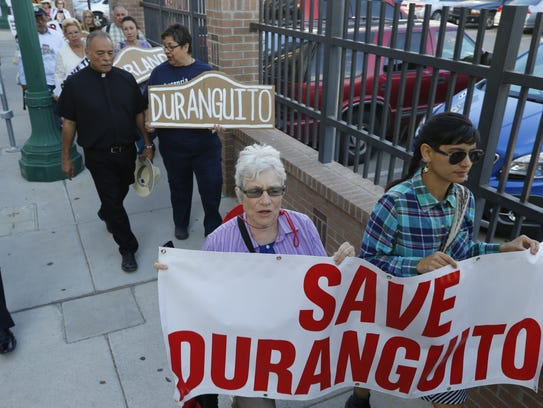 Duranguito protesters march last month to City Hall
