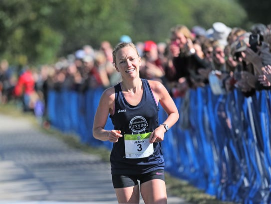 Jenny Zwagerman of Shorewood heads for the finish line