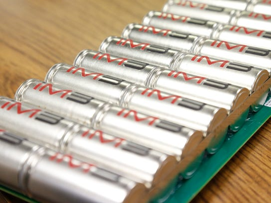 A bank of lithium ion battery cells produced by Charge