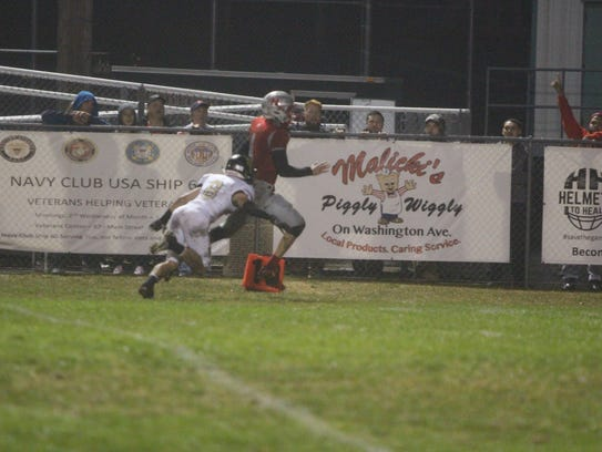 Joe Garcia scores the first of his two touchdowns for