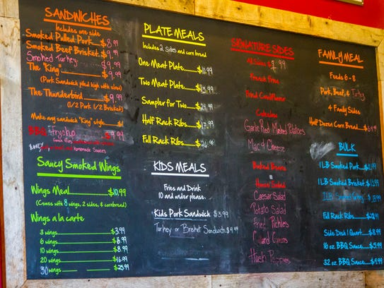 The menu at Charlie's Southern Barbecue, 126 N Main