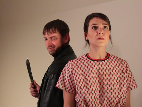 Darrick Bruns (left) as Harry Roat and Emily Guillemette