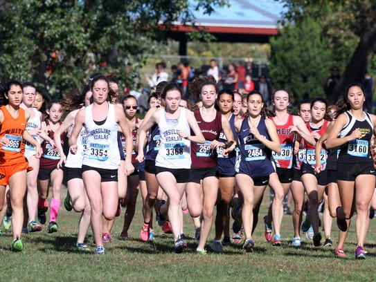 Girls take off at the start of the Westchester Cross Country Championship on Saturday at Croton Point Park.