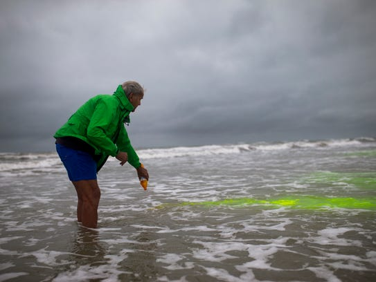 Dr. John Fletemeyer pours dye into the surf to track the current during his investigation for the Laura Day murder case on Wednesday, Nov. 9, 2017, about two miles south of Bob Hall Pier.