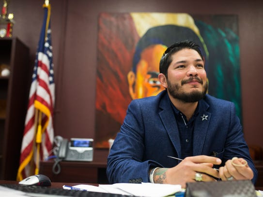 Nueces County District Attorney Mark Gonzalez talks about why he is thankful for the Dallas Cowboys in his office on Tuesday, Nov. 21, 2017, at the Nueces County Courthouse.