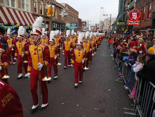 Iowa State Cyclones band marches down Beale Street