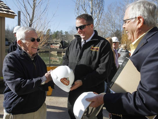 Jack Herschend, co-founder of Silver Dollar City, signs