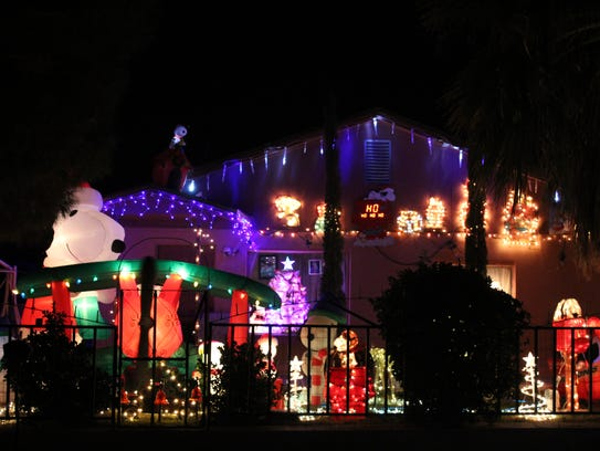 Snoopy is a popular character in this light display at 1135 N. Virginia St.