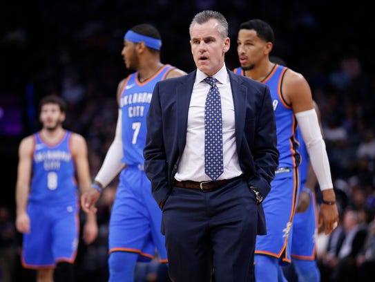 Oklahoma City Thunder head coach Billy Donovan stands