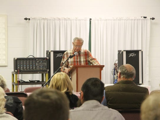 Eddy County resident Rick McKean speaks at a community-led