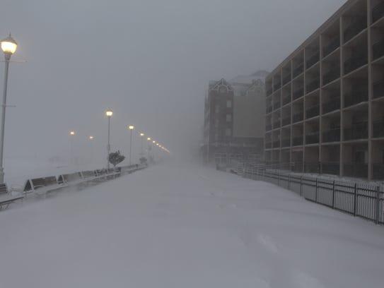 An empty Ocean City Boardwalk on 5th Street on Thursday,