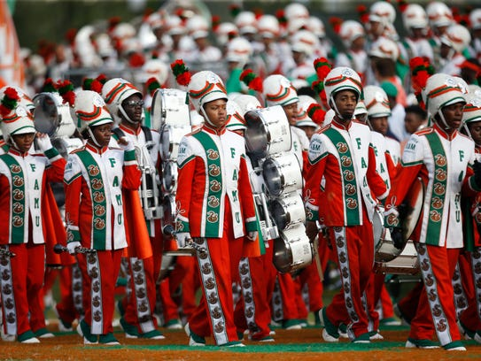 The FAMU Marching 100 takes the field to battle the