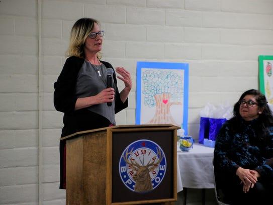 Sharon Barajas gives her speech Monday at The Salinas