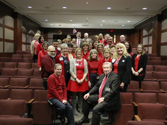 Hunterdon Healthcare employees dress in red in celebration