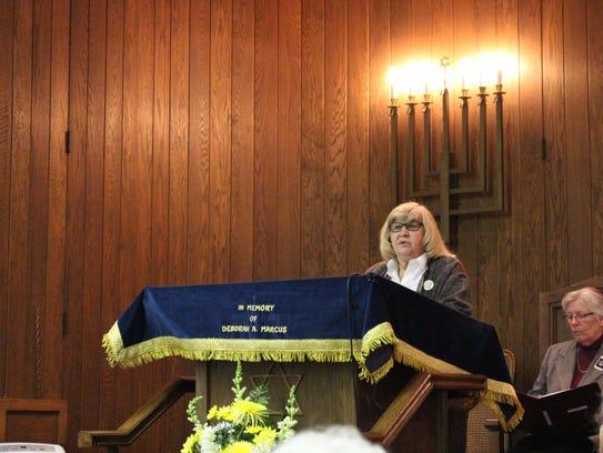 Holocaust survivor Helen Marks speaks during the Holocaust