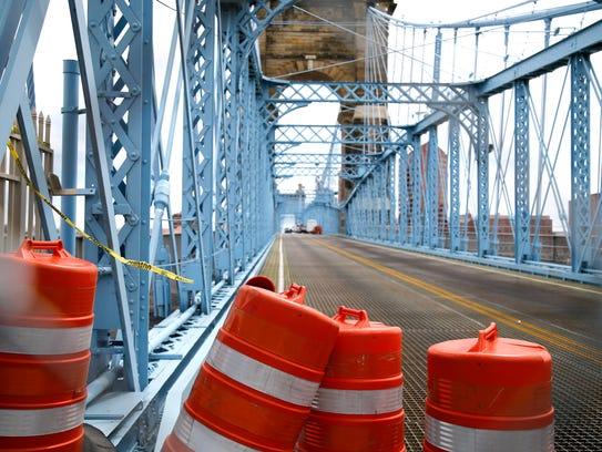 The John A. Roebling Suspension Bridge spanning the