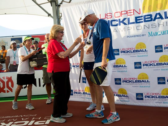 Collier County commissioner Donna Fiala presents doubles