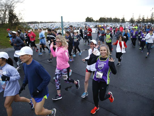 Runners participate in the NJ Marathon starting at