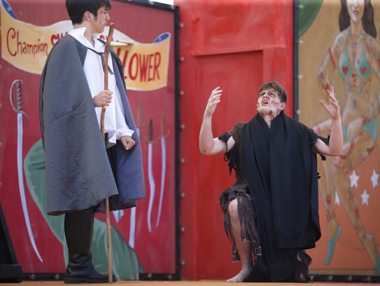 Josh Weinstein, playing the role of Caliban, right,