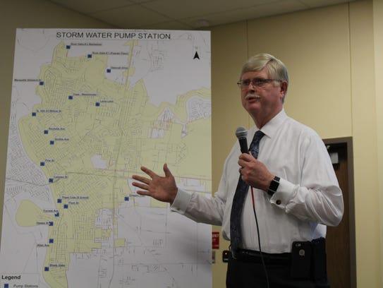 City Engineer Tom Janway discusses storm water pump