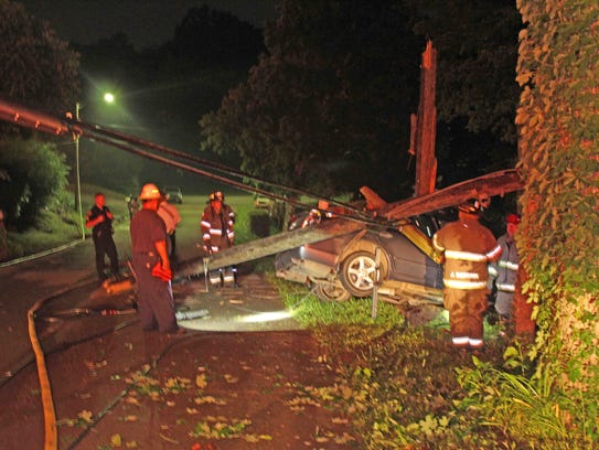 This car crashed on Oak Street early Saturday morning,
