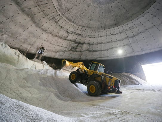 Salt is unloaded in Scio Township, Mich. Michigan's