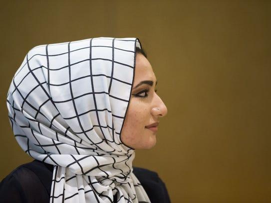 Interfaith leader Fara Arefi speaks at a panel on media