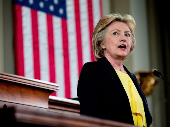 Hillary Clinton speaks in Springfield, Ill., on July
