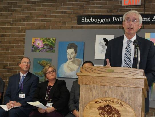State Superintendent Tony Evers at podium in Sheboygan Falls