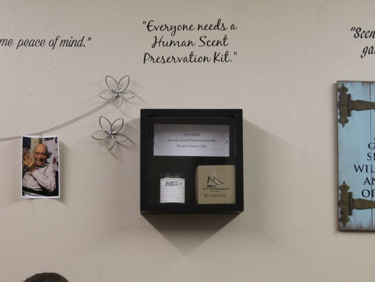 SEK9's office wall displays the first scent kit used