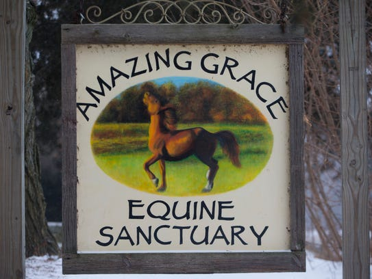 A sign greets visitors at Amazing Grace Equine Rescue